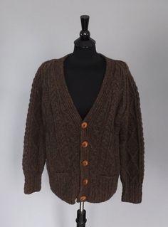 Vintage Retro Dark Brown Knitwear Cable Knit Wool Irish Cardigan Button up Sweater  Unisex medium Large Men's Women's Fisherman Sweater Boho...