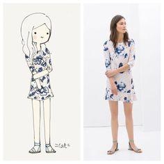 Zara blue floral dress. #zara @zara #catplusmouse #customportrait #fashionillustration #illustration #doodle #madewithpaper