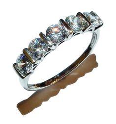 Stamped 925 Sterling Silver & Gem Set 1/2 Eternity Ring - UK Size: O 1/2