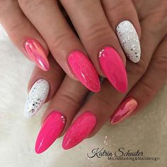 43 Super Cute Nails You Can Totally Do at Home Bold Pink and White Nail Design - Nail Designs Sparkly Nails, Pink Nails, My Nails, Pink White Nails, Star Nail Designs, White Nail Designs, Polka Dot Nails, Striped Nails, Super Cute Nails