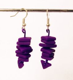 Stone Chip Earrings in Violet Purple Handmade in by MagicByLeah, $15.00