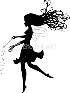 Fairy silhouette with wand Royalty Free Stock Vector Art Illustration