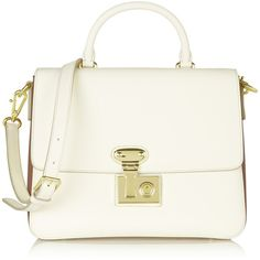 Dolce & Gabbana Two-tone leather shoulder bag (12.410 ARS) ❤ liked on Polyvore featuring bags, handbags, shoulder bags, cream, white leather handbags, leather shoulder handbags, real leather purses, leather purses and genuine leather shoulder bag