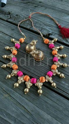 vinayaka pendants in b/w silk thread beads Silk Thread Necklace, Beaded Necklace Patterns, Thread Jewellery, Fabric Jewelry, Jewelry Patterns, Beaded Jewelry, Terracotta Jewellery Designs, Terracota Jewellery, Buy Jewellery Online