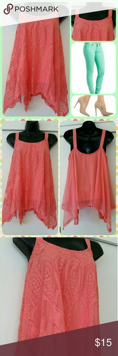 *Xhilaration* Handkerchief Top Coral handkerchief top w/ built-in lining and embroidered shell. Wide shoulder straps. NWT Shell: 100% Nylon  Embroidery: 100% Cotton  Lining: 100% Polyester Xhilaration Tops Blouses