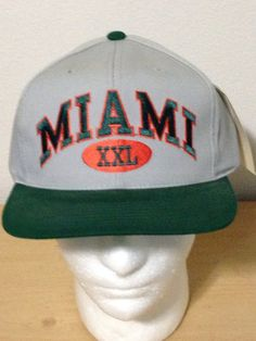 Annco Miami Hurricanes XXL Gray Deadstock Vintage Snapback Hat Cap on Etsy a9063d5512fc