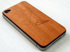 Paper Airplane Etching on Real Wood iPhone by grandmaswoodentooth, $20.00