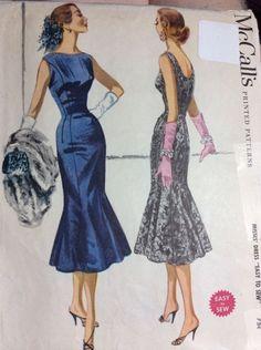 Vtg McCalls 50's Flare Swing Dress Sewing Pattern 3459 Sz 16 Sexy | eBay