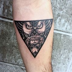 Mystical Owl Goblet Triangle Tattoo On Arms For Men