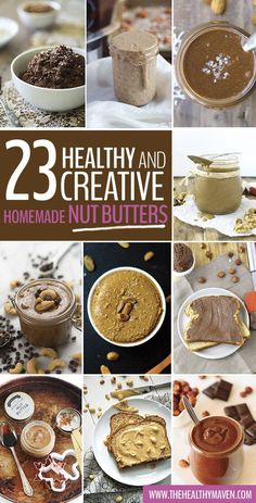 23 Healthy and Creative Homemade Nut (and Seed!) Butter Recipes - Ditch the store-bought jars and go for one of these nut butters instead. I can't promise you won't be going at them with a spoon thoug (Homemade Butter Nut) Flavored Butter, Homemade Butter, Vegan Butter, Hazelnut Butter, Clean Eating Recipes, Raw Food Recipes, Snack Recipes, Healthiest Nut Butter, The Healthy Maven