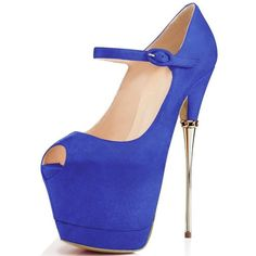 YDN Women Peep Toe Shoes Sky High Heels with Platform Pumps Ankle... ($68) ❤ liked on Polyvore featuring shoes, pumps, strap pumps, strappy pumps, platform stilettos, strappy platform pumps and high heel shoes
