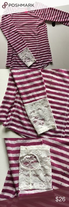 NEW Orchid & White Stripe Lace Long Sleeve Tee New with attached tags. Juniors size small, medium, XL and xxl available. Has thumb hole. Tops Tees - Long Sleeve