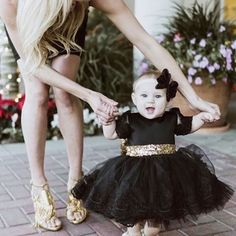 What a sweet #ittybittytoes  customer  #repost  SHOP: ittybittytoes.com (Julia Dress in Black & Gold) OR click the link in our bio