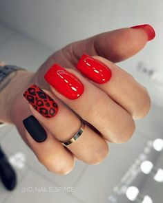 Animal Nail Designs, Red Nail Designs, Best Nail Art Designs, Acrylic Nail Designs, Red Cheetah Nails, Leopard Print Nails, Polka Dot Nails, Polka Dots, Short Red Nails