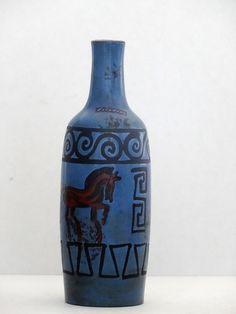 Ceramano Mid Century Blue Handpainted Horses Pergamon West