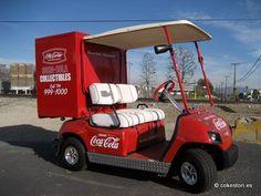 Coca-Cola golf cart in Anaheim California. It looks perfect because Coke knows… Food Truck, Cocoa Cola, Best Soda, Coca Cola Decor, Custom Golf Carts, Always Coca Cola, Vintage Coke, Diet Coke, Commercial Vehicle