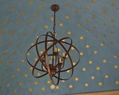 gold stars stenciled on Venetian plaster ceiling.I could go with this, plus make my husband install led micro lights amongst the star. Starry Ceiling, Gold Ceiling, Star Stencil, Stencils, Blue Ceilings, Painted Ceilings, Tadelakt, Wall Decor, Room Decor