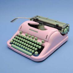 Vintage Schreibmaschine in Rosa mit mintgrünen Tasten, tolle bunte Wohndeko / colorful home decor: vintage typewriter made by Elvis never left the building via DaWanda.com