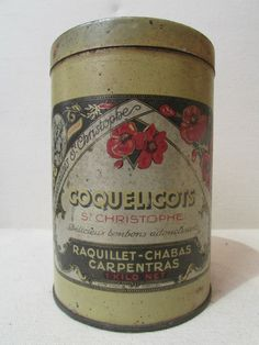 ancienne boite tole publicitaire coquelicots st christophe bonbons carpentras Tin Containers, Antique Boxes, Vintage Tins, Tin Boxes, Thrifting, Antiques, Tableware, Ebay, Poppies