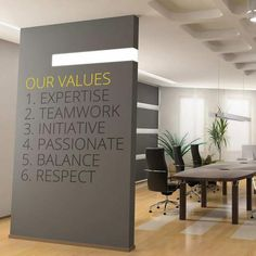 Company office decor - Company Values Style 3 – Company office decor Corporate Office Design, Office Reception Design, Office Wall Design, Business Office Decor, Office Wall Decals, Small Office Design, Office Mural, Office Artwork, Office Branding