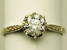 1.10 ct Diamond and 18 ct Yellow Gold Solitaire Ring - Vintage Circa 1970 and Contemporary  SKU: W6686 Price    GBP £3,250.00 http://www.acsilver.co.uk/shop/pc/1-10-ct-Diamond-and-18-ct-Yellow-Gold-Solitaire-Ring-Vintage-Circa-1970-and-Contemporary-150p5094.htm#.VDUMOvldXHU