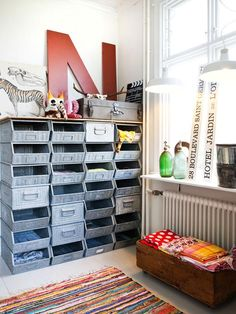 Studio Ideas. Industrial-looking containers would be great for craft supply storage