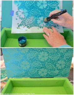DIY Colorful Chalk Paint and Craft Stencil Tutorial: Stenciled Jewelry Box Treasure Chest