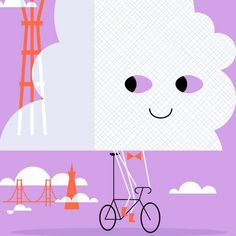 Karl the Fog on a bicycle