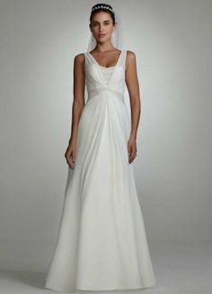 Amazon.com: David's Bridal Wedding Dress: Chiffon A-Line Gown with Split Front Skirt Style 123014: Clothing  Sale: $299.99