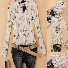 Fashion Women Ladies Chiffon T Shirt Floral Print Long Sleeve Blouse Casual Tops #Unbranded #Blouse #Casual