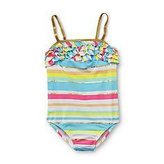 21a2ed84642b0 Kmart 2014: Joe Boxer- -Girl's Ruffled One-Piece Swimsuit - Neon Striped