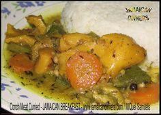 CURRIED CONCH MEAT recipe Blue Crab Recipes, Salmon Recipes, Meat Recipes, Seafood Recipes, Cooking Recipes, Jamaican Dishes, Jamaican Recipes, Curry Conch Recipe, Conch Recipes