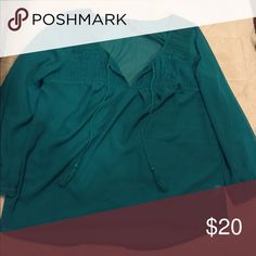 Jcrew top Brand new, green long sleeve shirt.  Has a beautiful pattern on it Tops