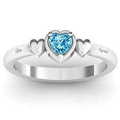 Triple Heart Promise Ring.  10K White Gold.  Blue Topaz.