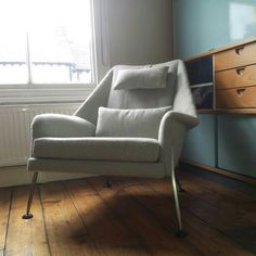 Ernest Race Heron Chair c1955 with Kandya 'Trimma' cabinet designed by Frank Guille c1956.