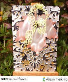 Imagine Blog card by Alison Heikkila featuring a leaf die cut of vertigo on metal.