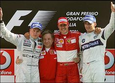 Kimi Raikkonen, Ferrari directer Jean Todt, Michael Schumacher and Robert Kubica