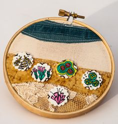 Mixed media collage embroidery hoop desert by StitchPlayShop, $25.00