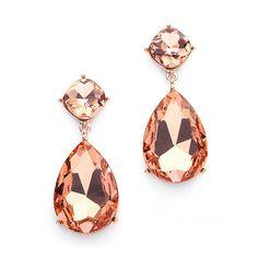 Rose Gold Teardrop Crystal Wedding or Prom Earrings