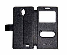 Hisense Cover L691. Carcasa delantera imitación piel y carcasa trasera de plástico. Color Negro. #smartphone #Hisense #cover #carcasa #accesorios #negro #L691