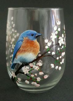 This Blue Bird Wine Glass Hand Painted White Cherry Blossom Spring Glassware Unique Gift Nature Lover Birdwatcher Flowering Tree Pretty Bar Decor is just one of the custom, handmade pieces you'll find in our wine glasses shops. Wine Bottle Art, Painted Wine Bottles, Hand Painted Wine Glasses, Glass Painting Designs, Wine Glass Crafts, Bottle Crafts, Bottle Painting, Blue Bird, Glass Art