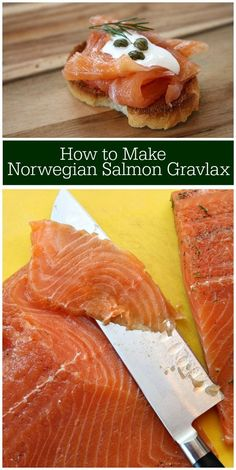 """One of Norway's distinctive dishes, Gravlax literally means """"Grave Salmon, """" and it refers to the medieval practice of curing the raw fish by burying it in the Smoked Salmon Recipes, Fish Recipes, Seafood Recipes, Cooking Recipes, Cured Salmon Recipe, Recipies, Lox Recipe, Recipe Girl, Recipes"""