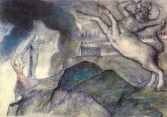 William Blake (1757 – 1827), Minotaur watercolor [The Seventh Circle]; Dante Alighieri's Inferno (The Divine Comedy), Hell XII, Canto 12-28