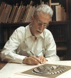 MC Escher, a Dutch graphic artist, widely known for his often mathematically inspired woodcuts, lithographs and mezzo-tints. Mc Escher, Escher Kunst, Escher Art, Dutch Artists, Famous Artists, Great Artists, Op Art, Artist Art, Artist At Work