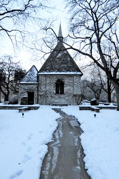 A snow-shoveled path leads to Marquette University's St. Joan of Arc Chapel. Saint Joan Of Arc, St Joan, Marquette University, Milwaukee, Wisconsin, Paths, Postcards, Places To Go, Snow