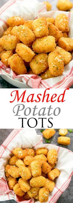 Homemade mashed potato tots are a great use for leftover mashed potatoes and a tasty variation on traditional tater tots. Instead of shredded potatoes, these crispy bites are filled with creamy mashed potatoes. Homemade Mashed Potatoes, Leftover Mashed Potatoes, Mashed Potato Recipes, Creamy Mashed Potatoes, Shredded Potatoes, Cheesy Potatoes, Baked Potatoes, Buffet Frio, Potato Tots