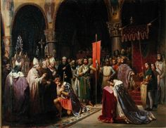 King Louie VII, seen here taking the cross with Pope Eugene III's holy blessing.  Note his dress, a reaffirmation of a popular notion at the time that God received those in humble and 'poor' attire more than the lavish and ornate.