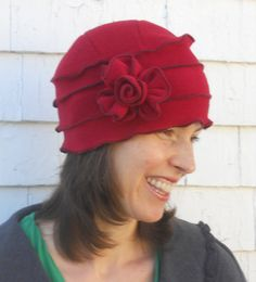 Polar Fleece Ladies Hat - Flapper Cloche - Cherry Red - Annique, Inspiration