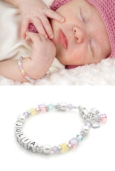 Tutu Cute Name Bracelet includes 100% Sterling Silver beads and AAA-Grade Round Real Cultured Pearls. High-end baby and children's jewelry.