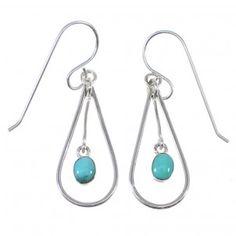 Southwestern Silver And Turquoise Tear Drop Hook Dangle Earrings AX49988